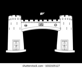 Khyber Pass Peshawar Pakistan in black background in white fill with black outlines