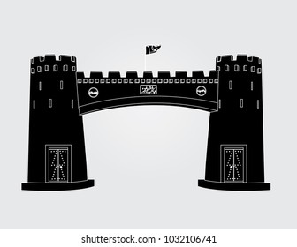 Khyber Pass Peshawar with text written Bab-e-Khyber means the door of Khyber in white background having black fill and white outlines