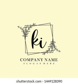 KI Initial beauty floral logo template