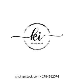 KI Initial handwriting logo vector