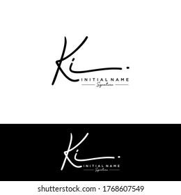 KI Initial letter handwriting and signature logo.
