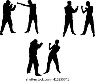 kick box sparring partners collection - vector