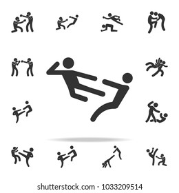 kick in flight icon. Set of Cfight and sparring element icons. Premium quality graphic design. Signs and symbols collection icon for websites, web design, mobile app on white background