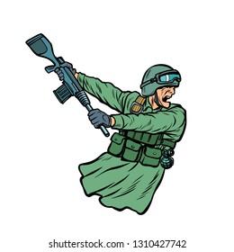 kick the gun butt. soldiers at war. Pop art retro vector illustration kitsch vintage