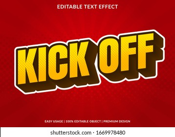 kick off text effect template with 3d style and bold font concept use for brand label and logotype sticker