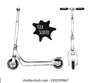 Kick scooter isolated on white background. Vector illustration.
