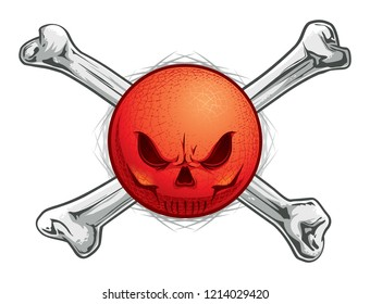 Kickball or Dodgeball Skull Face with Crossbones