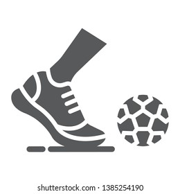 Kickball glyph icon, football and play, foot with ball sign, vector graphics, a solid pattern on a white background, eps 10.