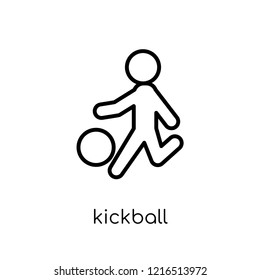 kickball icon. Trendy modern flat linear vector kickball icon on white background from thin line sport collection, editable outline stroke vector illustration
