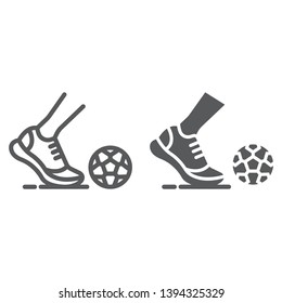 Kickball line and glyph icon, football and play, foot with ball sign, vector graphics, a linear pattern on a white background, eps 10.
