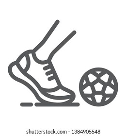Kickball line icon, football and play, foot with ball sign, vector graphics, a linear pattern on a white background, eps 10.