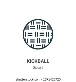 Kickball outline vector icon. Thin line black kickball icon, flat vector simple element illustration from editable sport concept isolated on white background