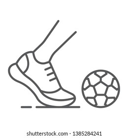 Kickball thin line icon, football and play, foot with ball sign, vector graphics, a linear pattern on a white background, eps 10.