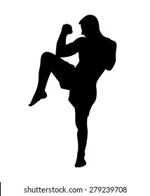 Kickbox fighter silhouette ready to deliver a kick