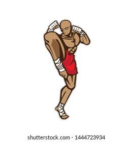a kickboxer in defense stance. best use for mma, dojo, martial arts, kickboxing..