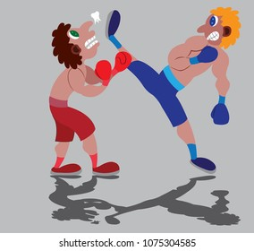 a kickboxer gives his opponent some heavy blows,