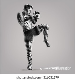 Kick-boxer. Vector artwork in the style of ink drawing