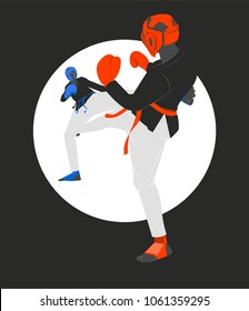 Kickboxing match, two kickboxers fighting, vector illustration