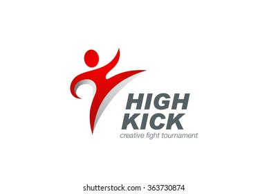 Kickboxing Red Character abstract Logo design vector template. Karate man Logotype concept icon.