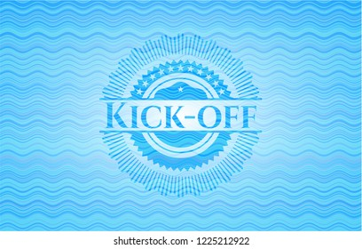 Kick-off water concept style emblem.