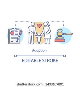 Kid adoption concept icon. Family law idea thin line illustration. Divorce, legal separation, child custody. Childcare, child welfare. Co-parenting. Vector isolated outline drawing. Editable stroke