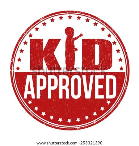 Kid Approved Grunge Rubber Stamp On White Background Vector Illustration