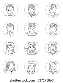 hand draw cartoon family icon stock vector royalty free 71629207 Laughing Emoji kid avatar collection set of happy boy and girl icons mixed age hand