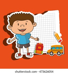 kid back to school on notebook paper  isolated icon design, vector illustration  graphic