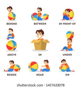 Kid and ball set. Learning preposition concept. Boy above and behind, near and under the ball. Isolated vector educational illustration in cartoon style