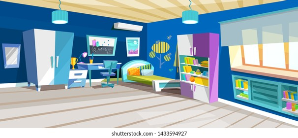 Kid bedroom with boy, children's bedroom with furniture, bed, books, bookcase area, desk, bookshelf. Boy room with big window suffused with light vector cartoon illustration