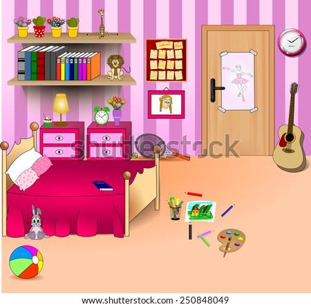 Kid Bedroom Vector Art Image Illustration Stock Vector Royalty Free