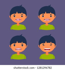 Kid before and after using dental braces. Teeth corrective treatment. Medical care. Little boy being sad and happily smiling. Vector cartoon flat style illustration isolated on colored background.