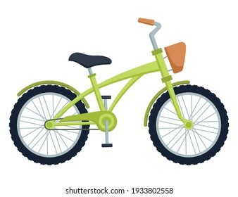Kid bicycle on white background. Children bike, vector illustration