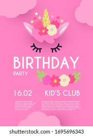 Kid birthday flyer template. Cute Unicorn with clouds and flowers.