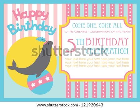 Kid Birthday Invitation Card Design Vector Vector De Stock Libre De