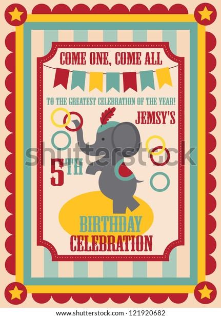 Kid Birthday Invitation Card Design Vector Stock Vector
