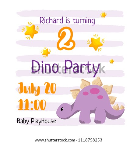 kid birthday invitation template design dino stock vector royalty