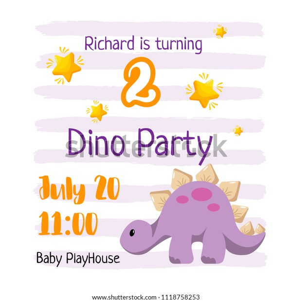 Kid Birthday Invitation Template Design Dino Party For A Baby Turning 2 Years With Flat