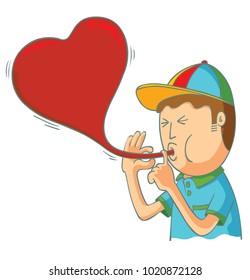 kid blowing love balloon