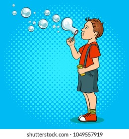 Kid blowing soap bubbles pop art retro vector illustration. Color background. Comic book style imitation.
