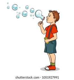 Kid blowing soap bubbles pop art retro vector illustration. Isolated image on white background. Comic book style imitation.