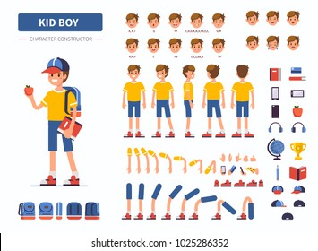 Kid boy character constructor for animation. Front, side and back view. Flat  cartoon style vector illustration isolated on white background.