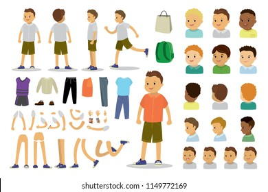 Kid boy constructor,human template avatars or characters,isolated on white background,flat vector illustration