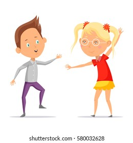 Kid or boy dancing or greeting girl in skirt with pigtails and glasses. Child dancer at dico or party, discotheque. Couple of children liking music. Teenager club and people leisure, social fun, rest