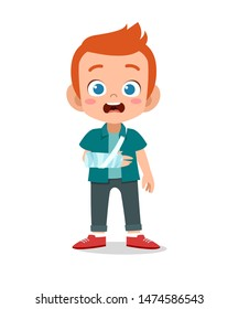 kid boy with fracture arm vector
