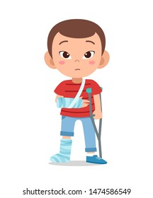 kid boy with fracture leg vector