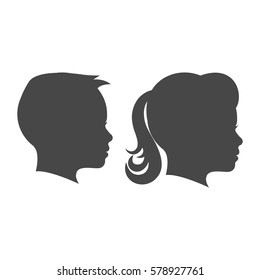 Kid boy and kid girl face profile isolated vector set on the white background