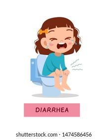 kid boy having diarrhea vector