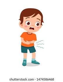 kid boy having stomachache vector