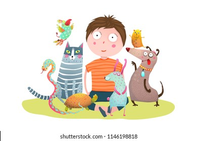 Kid Boy and Pet Shop. Fun colorful cartoon with little boy and domestic animals. Vector illustration.